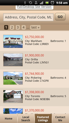 Mobile Website: Property Listings